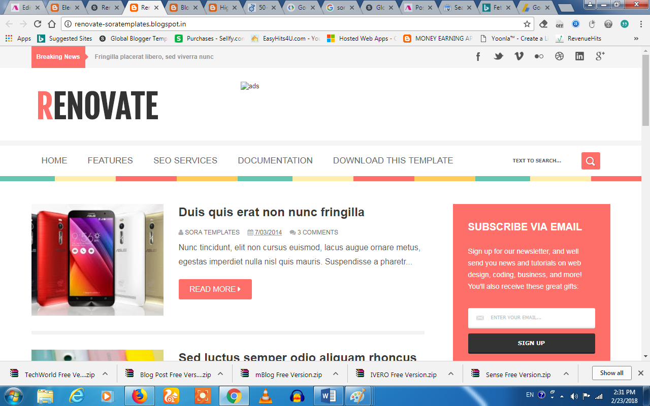 Top 15 Best Free Premium Template For Blogger Blogspot Website